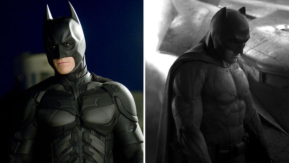 Christian Bale-Ben Affleck-The Dark Knight-Batman vs. Superman-Publicity Stills-Split-Photofest-H 2019
