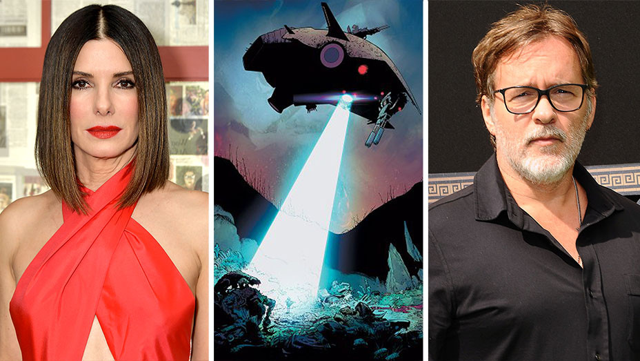 Sandra Bullock, the comic book Reborn and Chris McKay -Split- Getty-H 2019