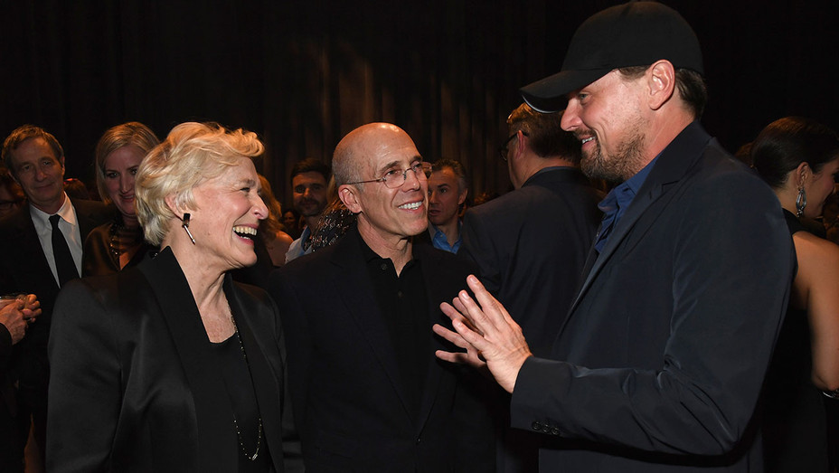 Glenn Close, Jeffrey Katzenberg, and Leonardo DiCaprio