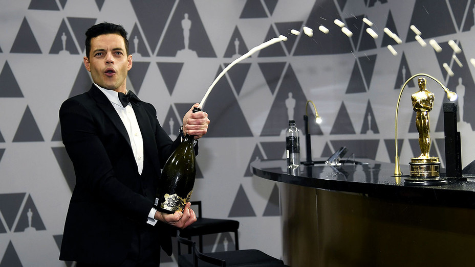 Rami Malek sprays champagne during the 91st Annual Academy Awards-Getty-H 2019