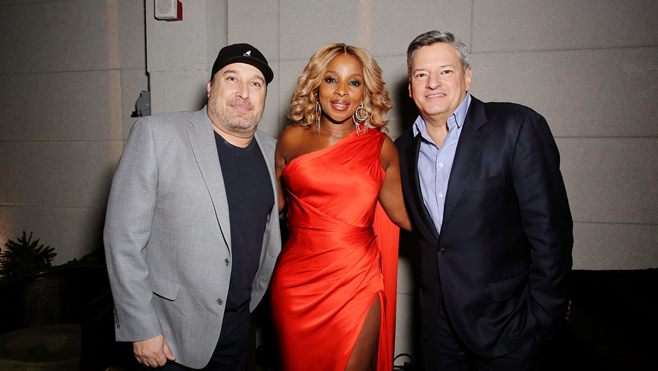 Steve Blackman, Mary J. Blige and Netflix Chief Content Officer Ted Sarandos attends 'The Umbrella Academy' Premiere  -Getty-H 2019