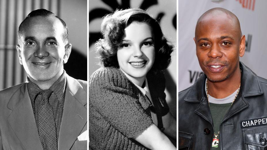 Al Jolson, Judy Garland and Dave Chappelle-Getty-SPlit-H 2019