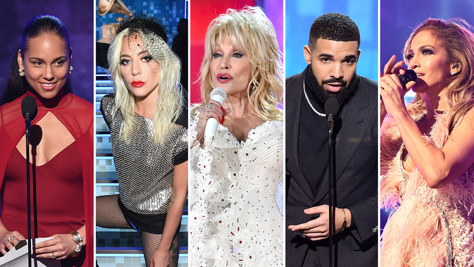 Alicia Keys, Lady Gaga, Dolly Parton, Drake and JLo_Split - Getty - H 2019