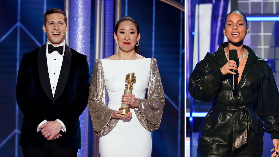 Andy Samberg-Sandra Oh_Alicia Keys_Split - Getty - H 2019