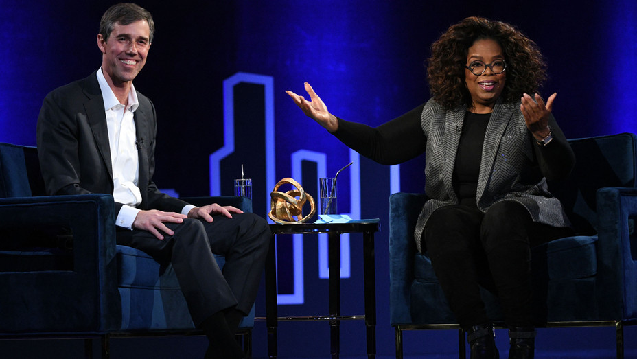 Beto O'Rourke and Oprah Winfrey at Oprah's SuperSoul Conversations in New York - H Getty 2019