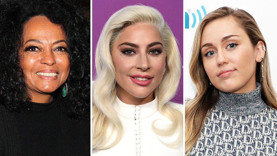 Diana Ross, Lady Gaga and Miley Cyrus-Split-Getty-H 2019
