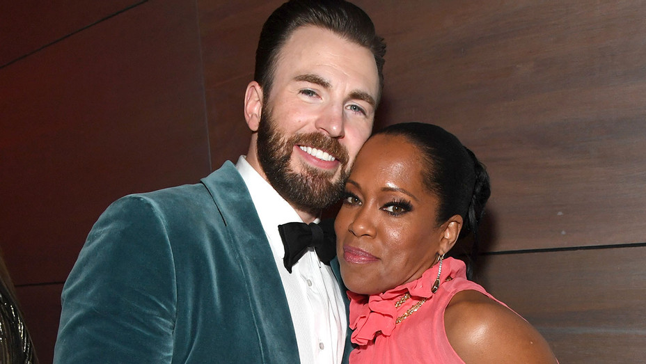 Chris Evans and Regina King attend the 2019 Vanity Fair Oscar Party - Getty-H 2019
