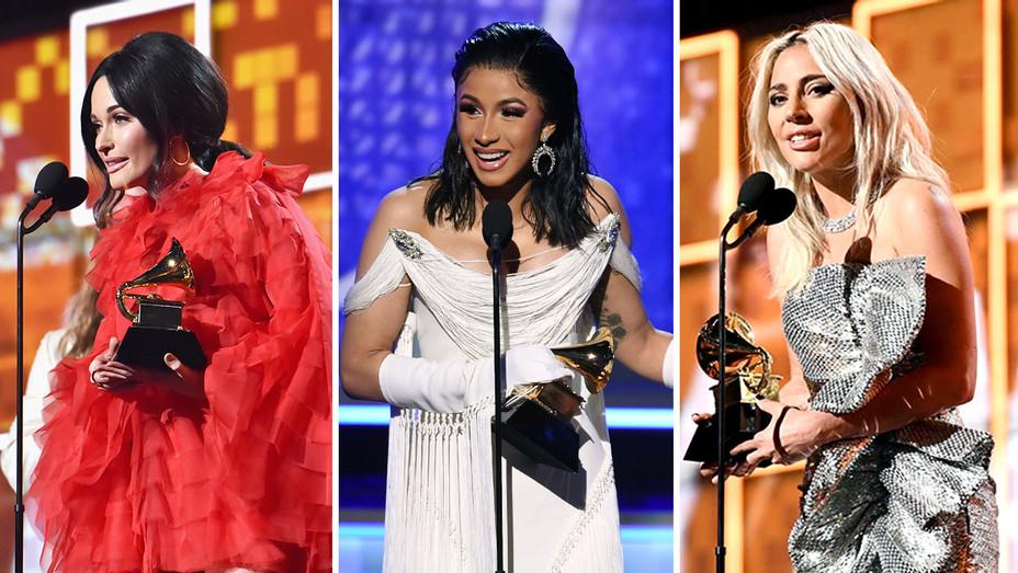 Kacey Musgraves, Cardi B and Lady Gaga -Grammys 2019-Split-Getty-H 2019