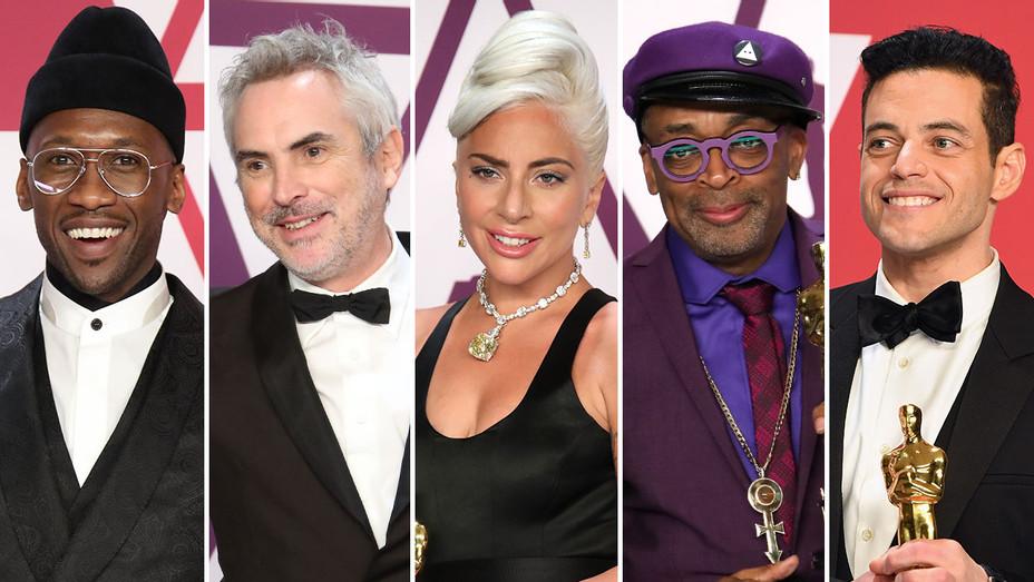 Mahershala Ali, Alfonso Cuaron, Lady Gaga, Spike Lee and Rami Malek_Split - Getty - H 2019