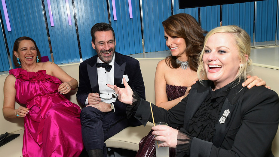 Maya Rudolph, Jon Hamm, Tina Fey, and Amy Poehler attend the 2019 Vanity Fair Oscar Party-Getty-H 2019