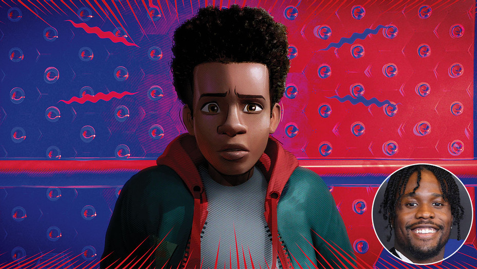 Spider-Verse and inset of Shameik Moore -Getty-H 2019