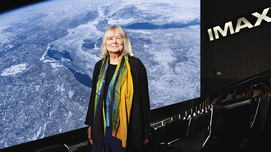Toni Myers at IMAX theatre with A Beautiful Planet on-screen-H 2019