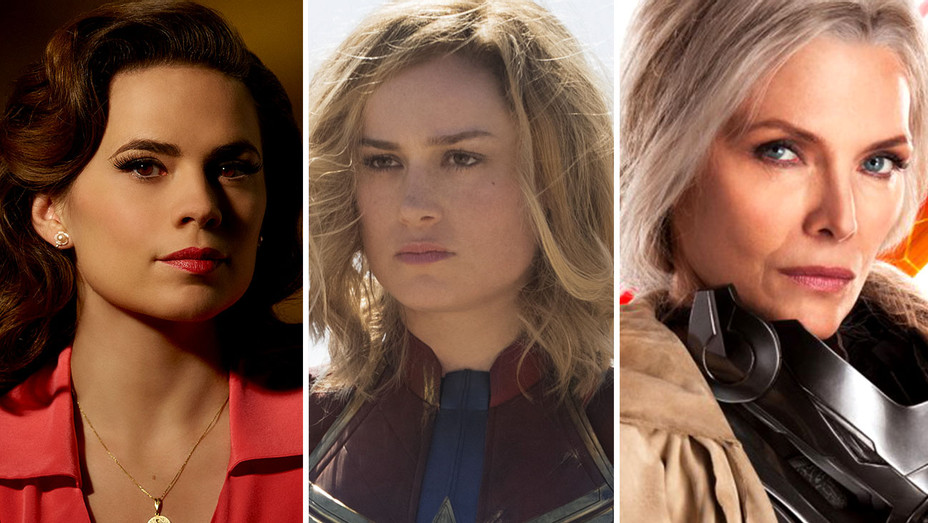 Hayley Atwell in ABC's Agent Carter, Brie Larson in Captain Marvel and Michelle Pfeiffer in Ant-Man and the Wasp-Publicity Stills-Split-H 2019