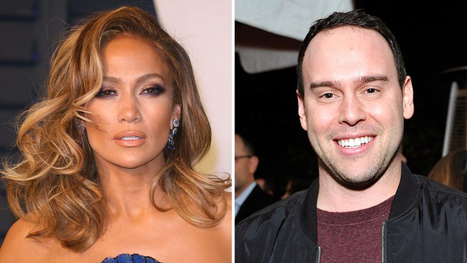 Jennifer Lopez and Scooter Braun_Split - Getty - H 2019
