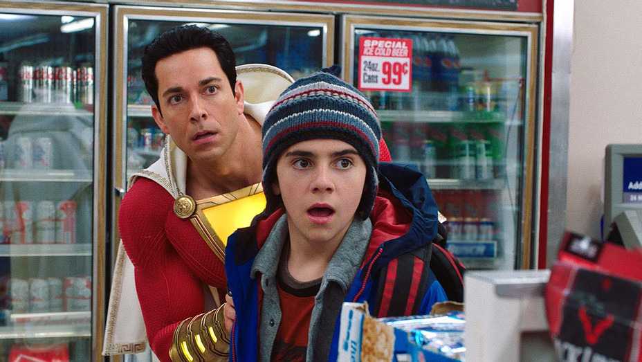 SHAZAM! Still 2 - ZACHARY LEVI as Shazam and JACK DYLAN GRAZER as Freddy Freeman- Publicity- EMBED 2019