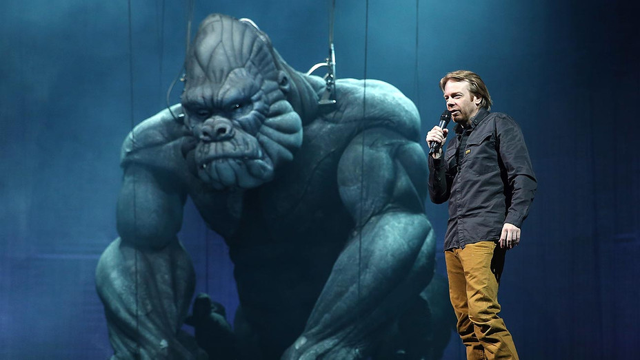 "Sonny Tilders the Creature Designer speaks during a ""King Kong"" Production media call -Getty-H 2019"