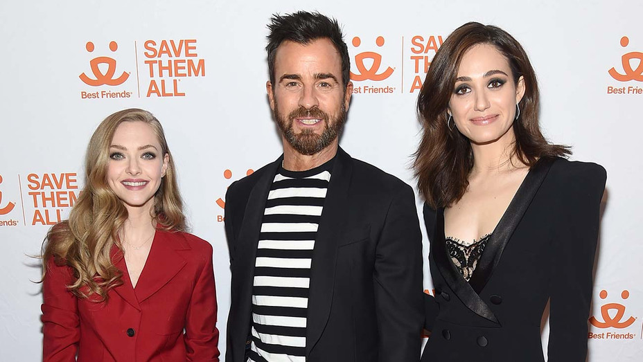 Amanda Seyfried, Justin Theroux, and Emmy Rossum - Getty - H 2019
