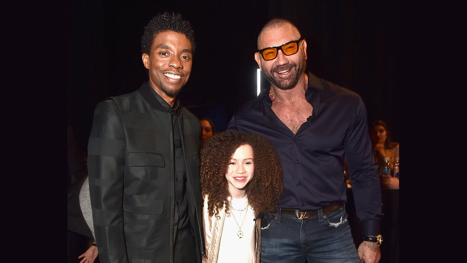 Chadwick Boseman, Chloe Coleman and Dave Bautista -Getty-H 2019