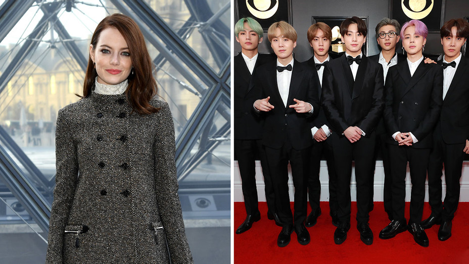 Emma Stone and BTS -Getty-Split -H 2019