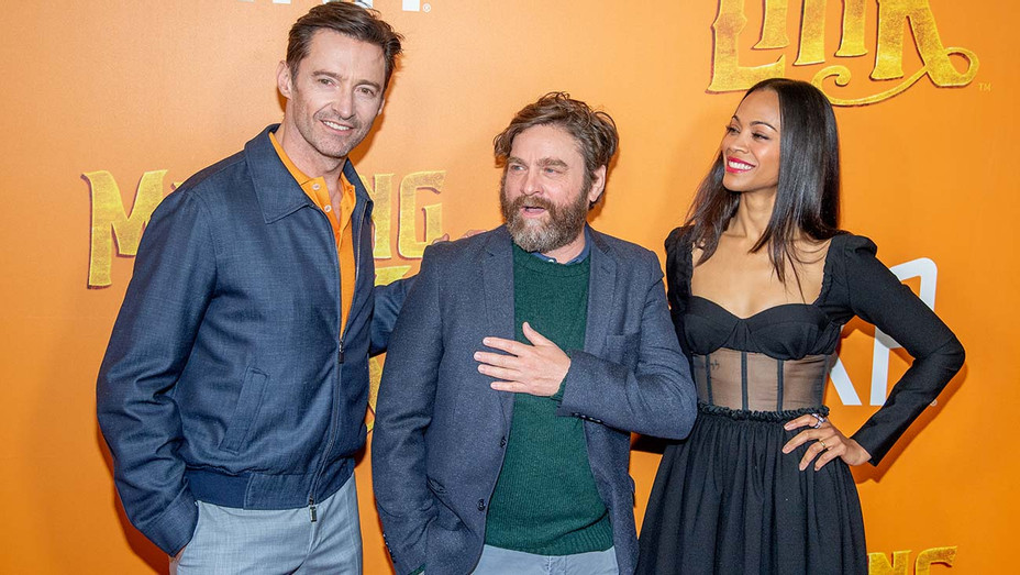 Hugh Jackman, Zach Galifianakis and Zoe Saldana attend the Missing Link New York Premiere  - Getty-H 2019