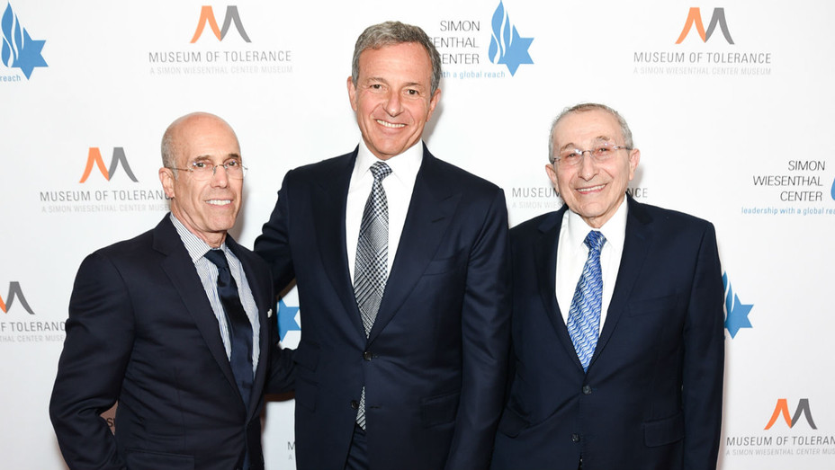 Bob Iger, Jeffrey Katzenberg, Rabbi Hier - Getty - H 2019