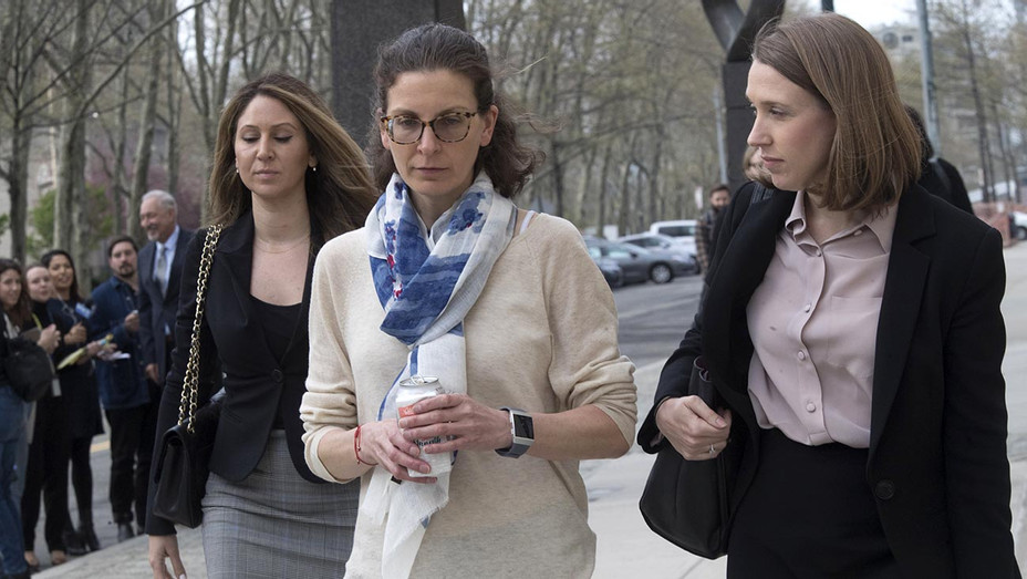 ONE TIME USE ONLY-Clare Bronfman, center, leaves Federal court in the Brooklyn borough of New York, Friday, April 19, 2019-AP-H 2019