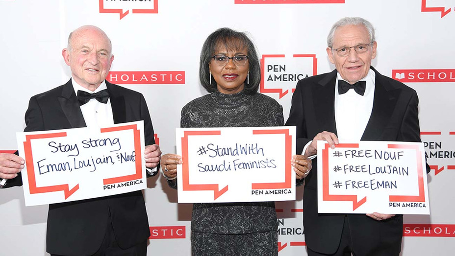 2019 PEN America Literary Gala- Richard Robinson, Dr Anita Hill and Bob Woodward-Getty-H 2019