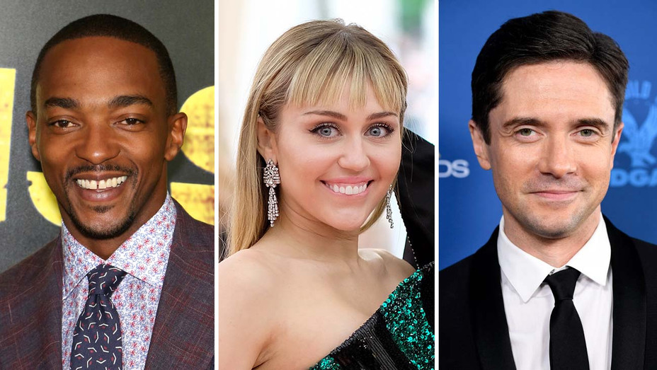Anthony Mackie, Miley Cyrus and Topher Grace-Getty-Split-H 2019