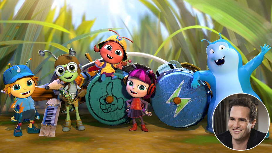 Beat Bugs image with an inset of show creator Josh Wakely-H 2019