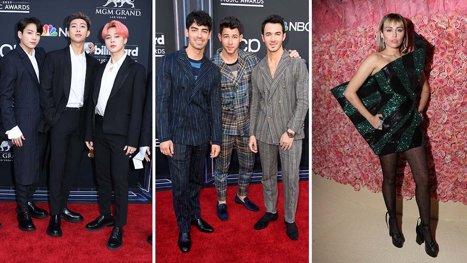 BTS, Jonas Brothers and Miley Cyrus_Split - Getty - H 2019