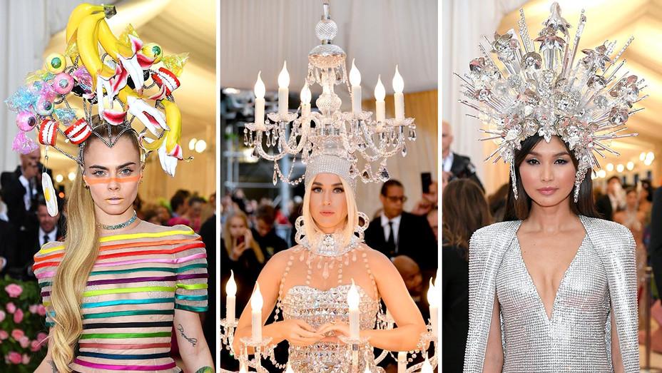 Cara Delevingne-Katy Perry-Gemma Chan-Headpieces-MET GALA-Getty-Split-H 2019