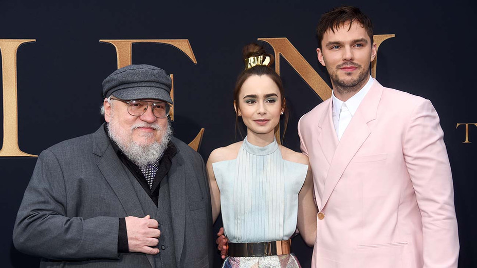 George R. R. Martin, Lily Collins and Nicholas Hoult -LA Special Screening of Tolkien- Getty-H 2019
