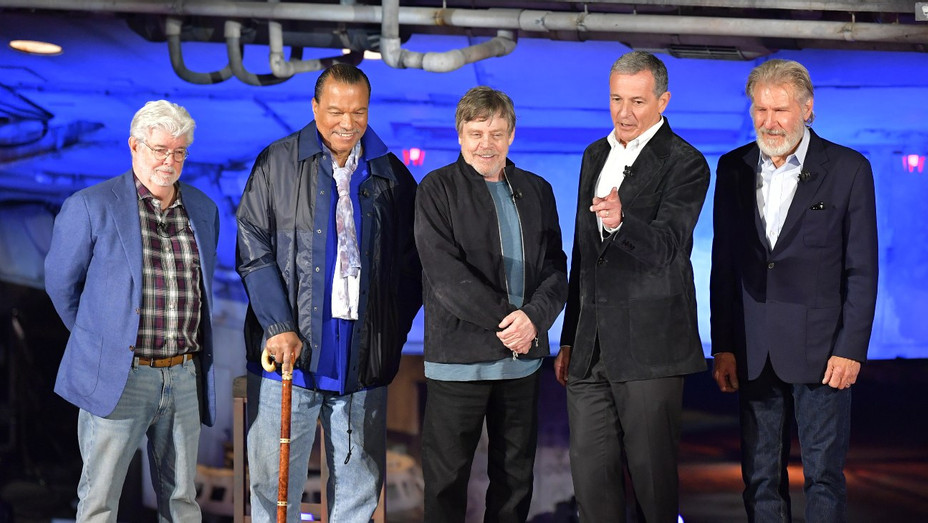 George Lucas, Billy Dee Williams, Mark Hamill, Bob Iger and Harrison Ford - Getty - H 2019