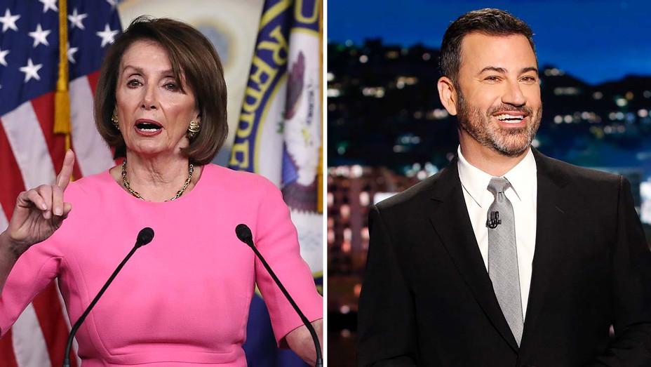 Nancy PelosiJimmy Kimmel _Split - Getty - H 2019