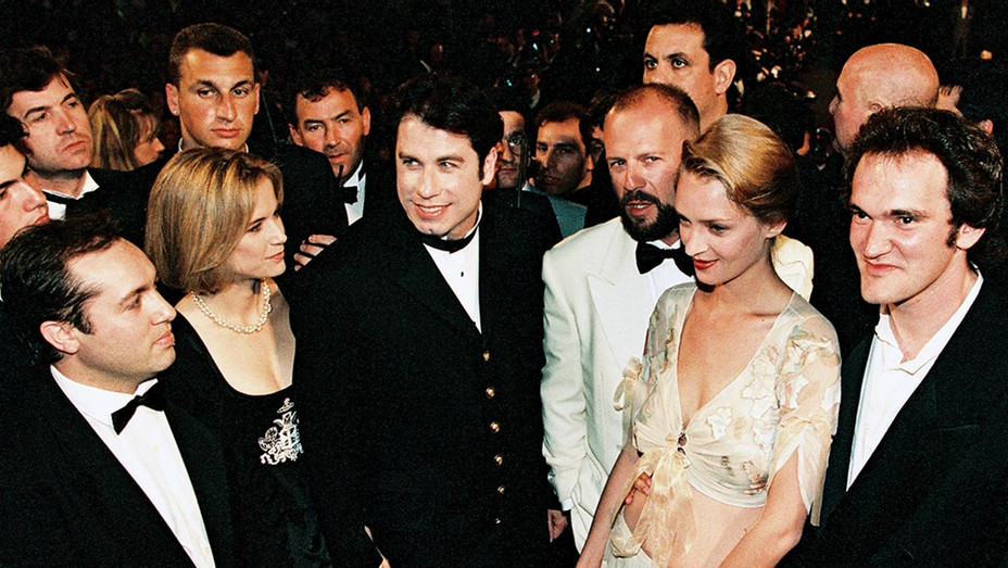 ONE TIME USE ONLY- Quentin Tarantino, Uma  Thurman, Bruce Willis, John Travolta and his wife, Kelly Preston, at Cannes on May 21, 1994-NEWSCOM-H 2019