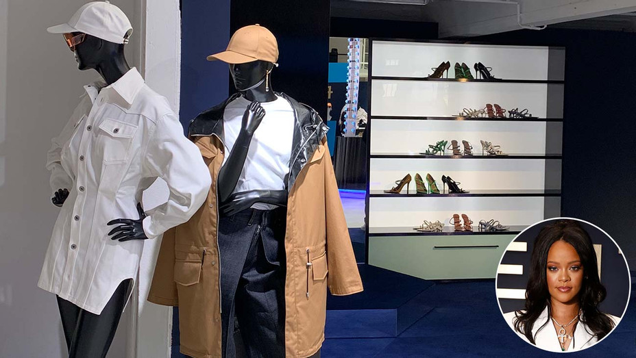 Rihanna's FENTY pop-up shop and collection in Pari and inset of  Rihanna- H 2019