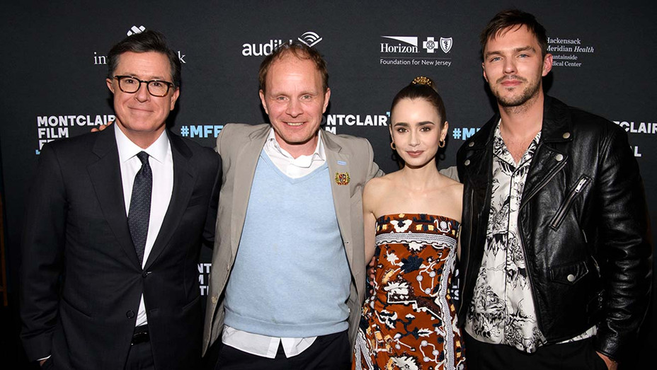 Stephen Colbert, Director Dome Karukoski, Actress Lily Collins and Actor Nicholas Hoult-Getty-H 2019