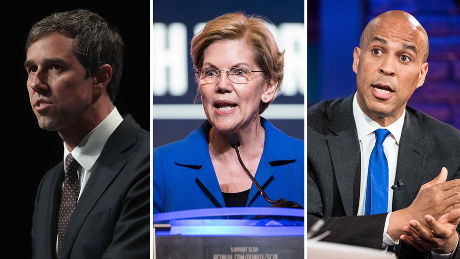 Beto O'Rourke, Elizabeth Warren and Cory Booker -Split-Getty-H 2019