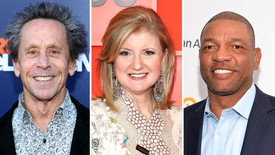 Brian Grazer, Arianna Huffington and Doc Rivers-Getty-Split-H 2019