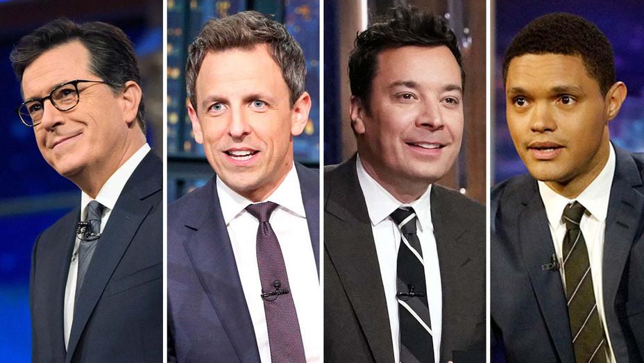 Stephen Colbert, Seth Meyers, Jimmy Fallon and Trevor Noah -Publicity- Split-H 2019