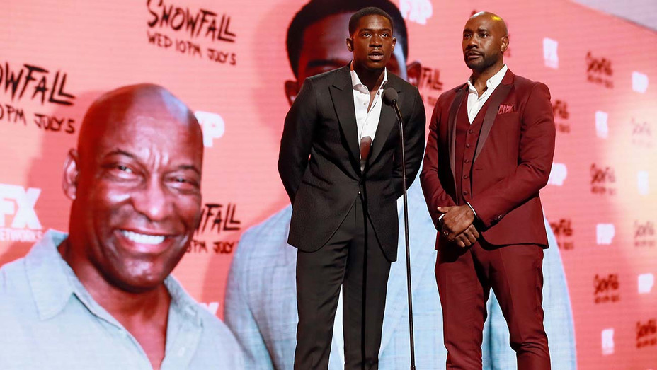 Damson Idris and Morris Chestnut speak onstage at the 2019 BET Awards - Getty-H 2019