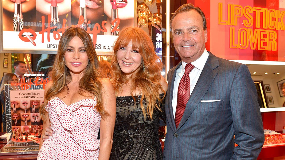 Sofia Vergara, Charlotte Tilbury and Rick Caruso attend Charlotte Tilbury's Beauty Wonderland - Getty-H 2019