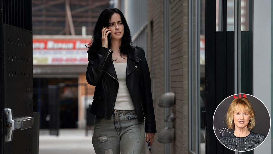 Krysten Ritter in Jessica Jones season 3 on Netflix- with an inset of Melissa Rosenberg-Getty-H 2019