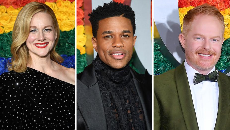 Laura Linney  Jeremy Pope Jesse Tyler Ferguson Tony Awards Split - Getty - H 2019