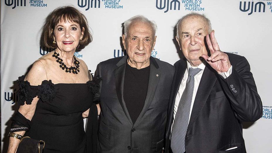 Sheryl Weiner, Frank Gehry and David Weiner attend the Inaugural Gala For World's Jewish Museum-Getty-H 2019