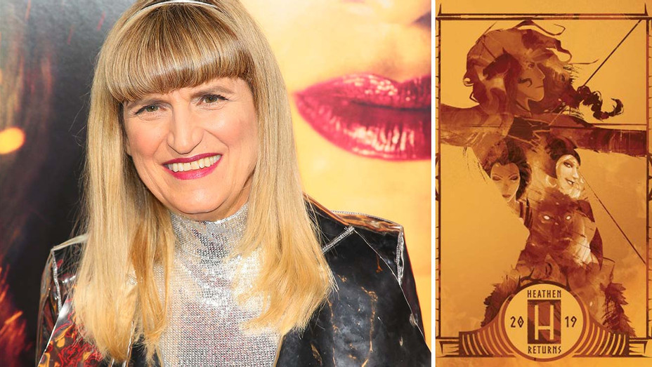Catherine Hardwicke and comic cover art of Heathen-Split-Getty-H 2019