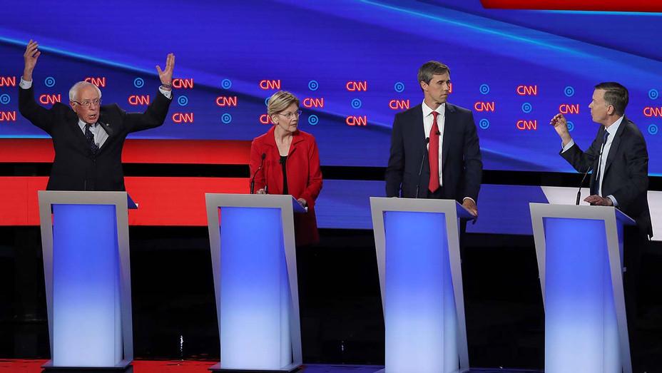 CNN Democratic Debate Round 2 Part 1_Bernie Sanders_Elizabeth Warren_Beto O'Rourke_John Hickenlooper - Getty - H 2019