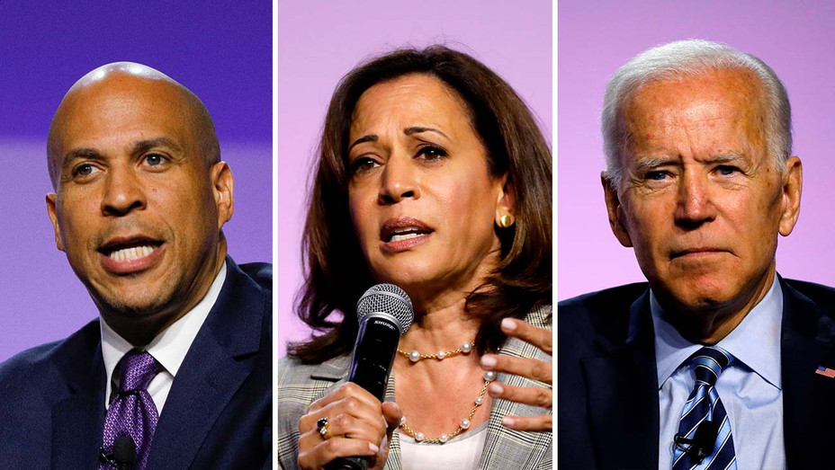 Cory Booker, Kamala Harris and Joe Biden_Split - Getty - H 2019