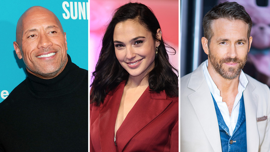 Dwayne Johnson Gal Gadot Ryan Reynolds Split - Getty - H 2019