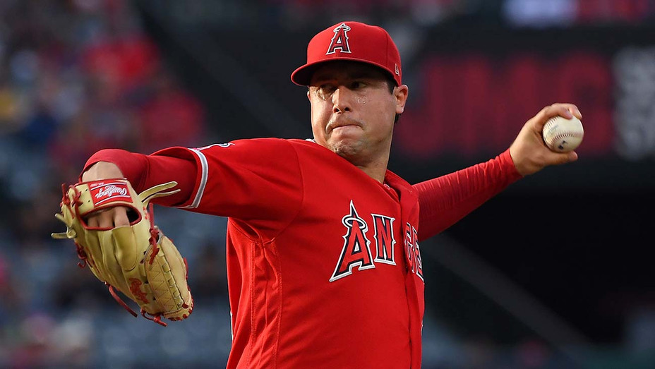 Tyler Skaggs 45 of the Los Angeles Angels pitches in the first inning -June 29, 2019- Getty-H 2019